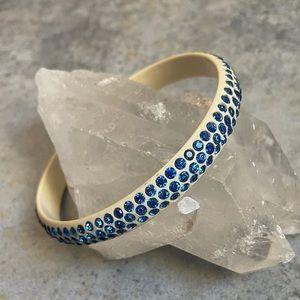 Vintage Celluloid Blue Rhinestone Bangle Bracelet
